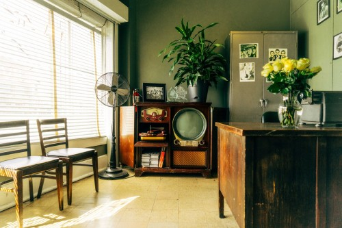 grey-pedestal-fan-near-brown-wooden-rack-inside-room-and-flower-in-bowl-on-table-photo.jpg